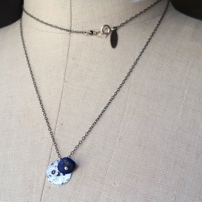 OXI Silver Necklace with Lapis Lazuli on Chain, 30""