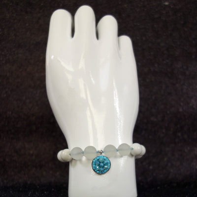 Blue Without You turquoise and howlite mosaic bracelet