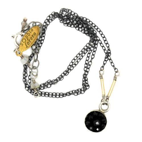 Moxie Black Onyx Mosaic Necklace, 10mm