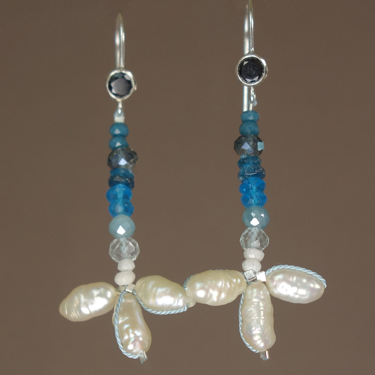 She Rides the Waves: pearl, aquamarine, apatite earring