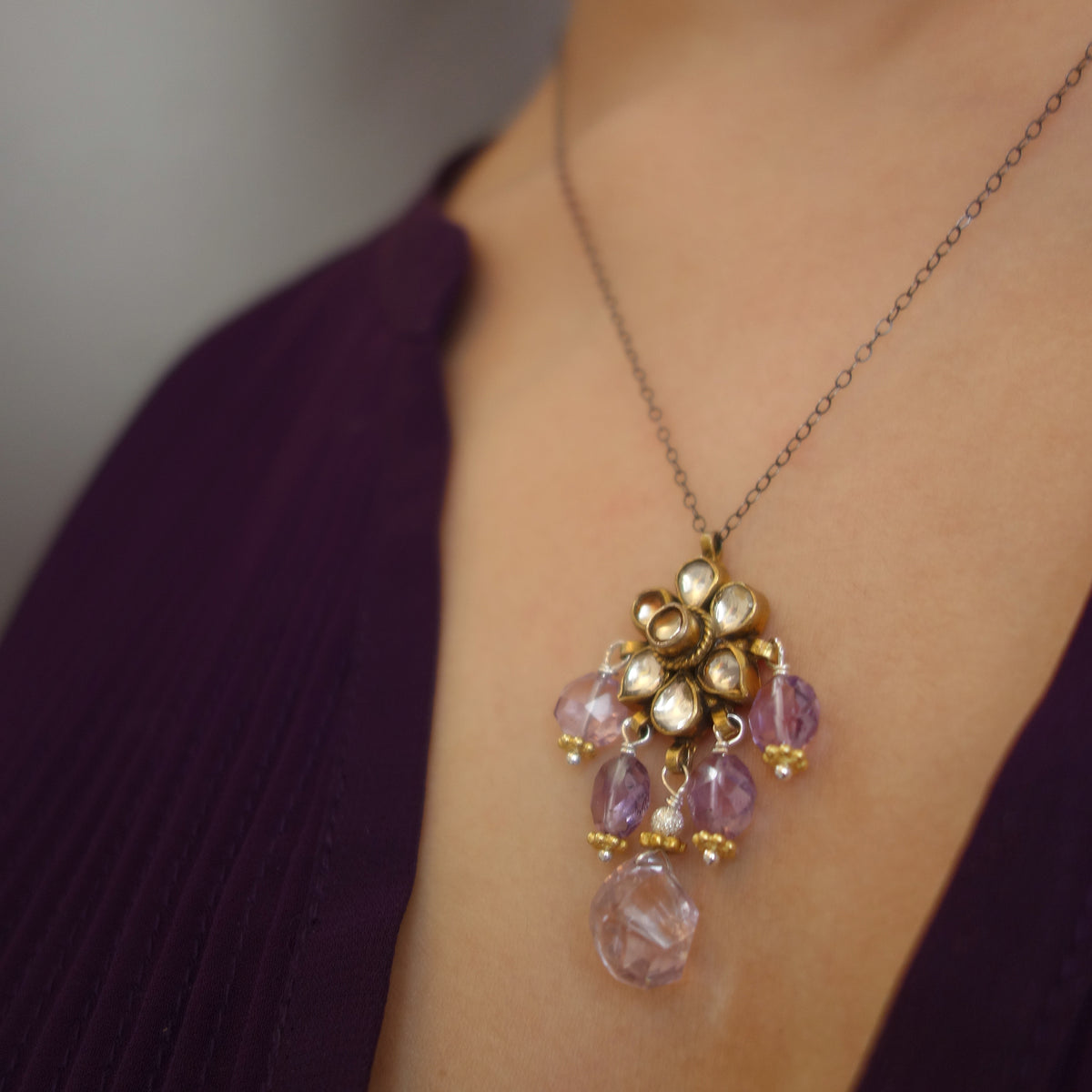 Isn't this Romantic pink amethyst necklace