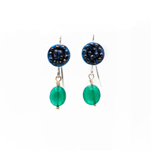 Moxie Blue Sapphire Earrings with Faceted Green Onyx Drops