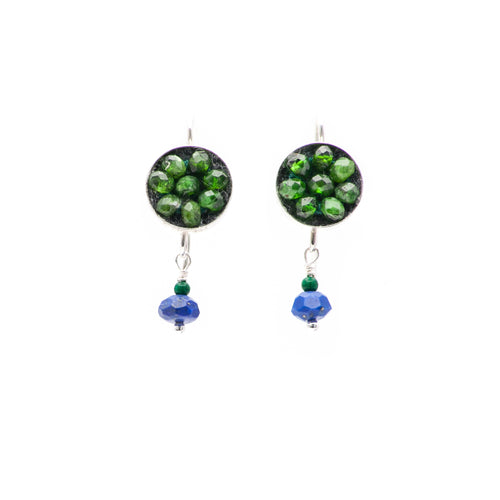 Moxie Faceted Tsavorite Earrings with Faceted Lapis and Malachite Drops