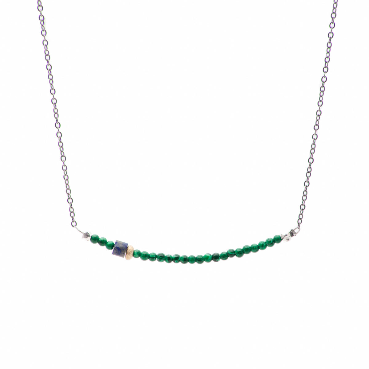 Moxie Malachite Bar Necklace with Gold and Matte Lapis on Oxidized Silver Chain