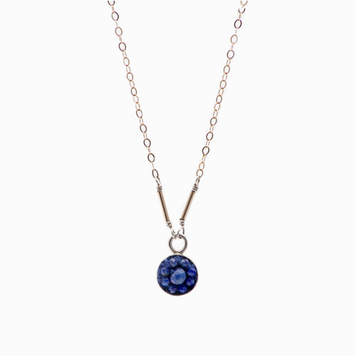 Moxie Lapis Lazuli Necklace Set in Silver Accented with Gold on Sterling Slver Chain