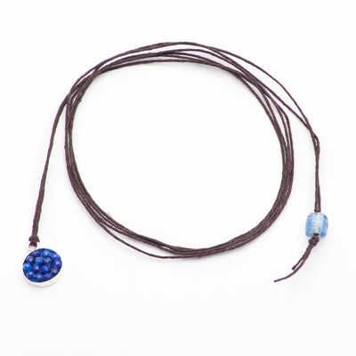 Moxie Blue Sapphire Necklace/Bracelet Wrap Set in Sterling on Bamboo Chord