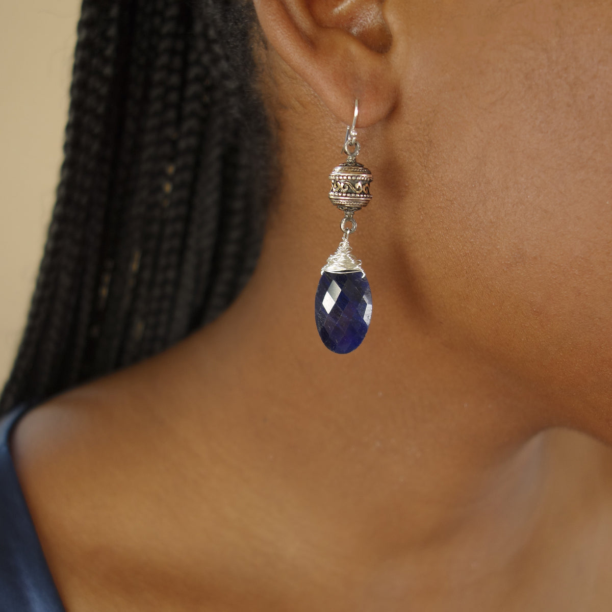 Blue Goddess in You: sapphire and vintage Greek silver