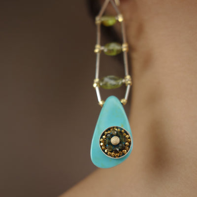 Her Inner Eye: sapphire, turquoise, and peridot earring