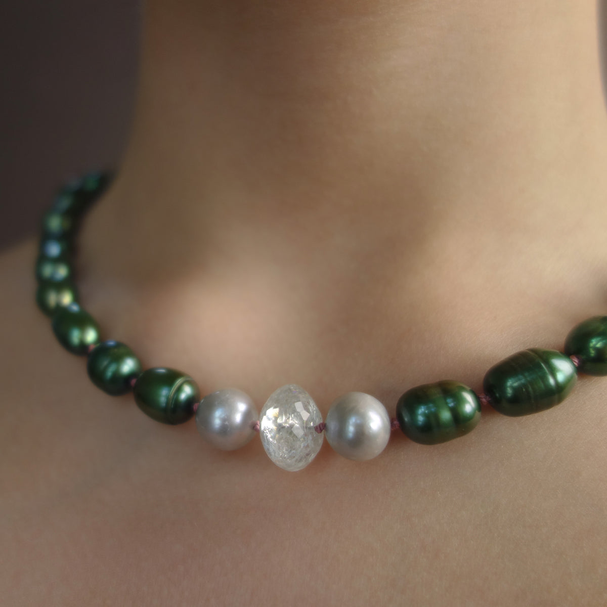 Emerald South Sea Pearl with Aquamarine necklace