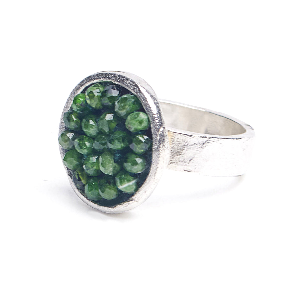 Iconic Chrome Diopside Mosaic Ring