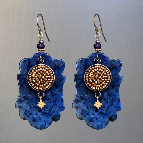 Gold Mosaic on Sodalite glamorous earring