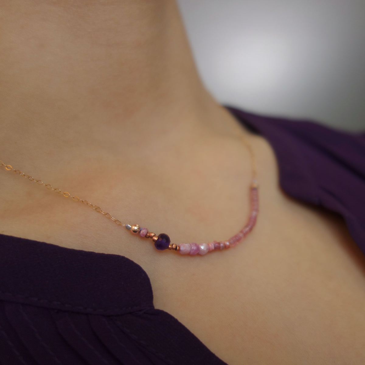 Then You Will Be my One True Love amethyst/pink sapphire necklace