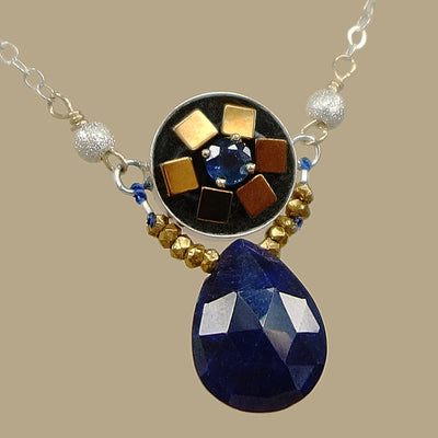 Alicia's heart of gold: blue sapphire mosaic necklace