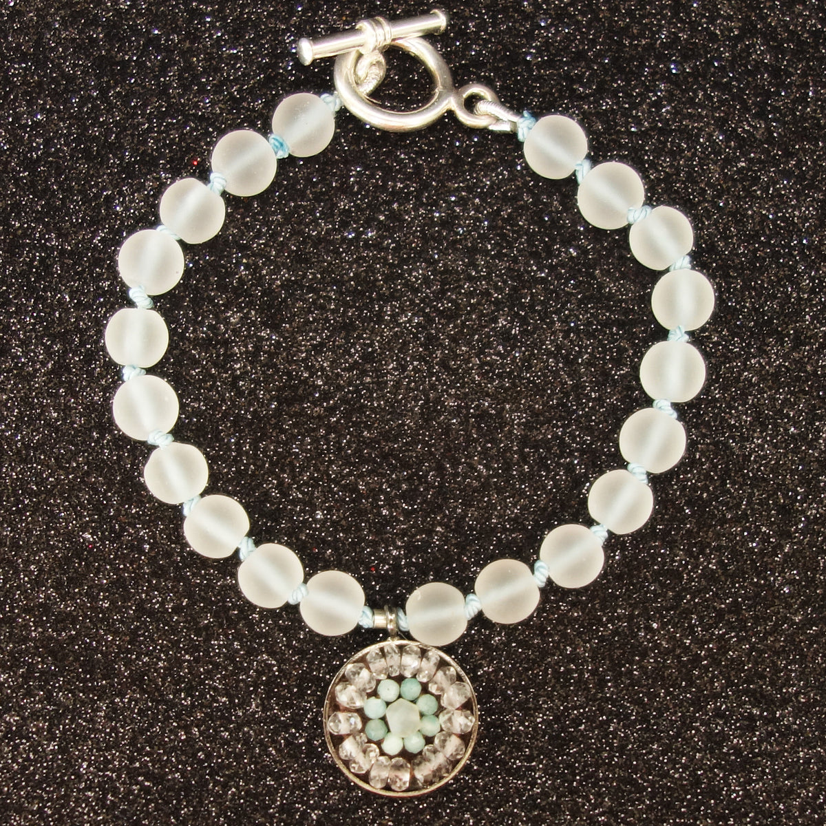 Let Me Be Clear quartz and aquamarine mosaic bracelet