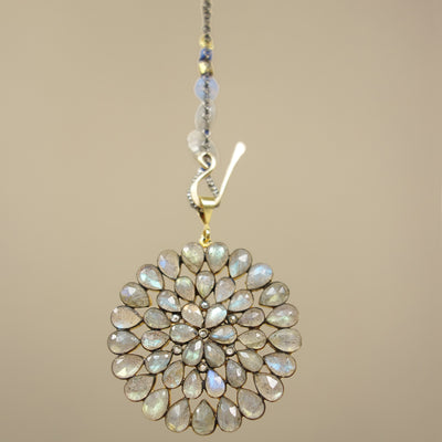 Labradorite and diamonds DAHLINK: necklace