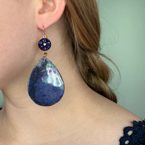 Bluer than Midnight sapphire mosaic ear