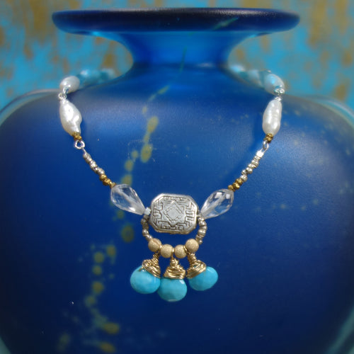 Love Goddess Adorned: turquoise, pearl, and apatite necklace
