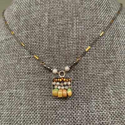 Opal, Labradorite, and Gold mosaic necklace