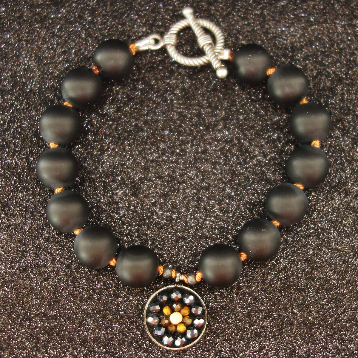 Black is the New Black onyx and tiger eye mosaic bracelet