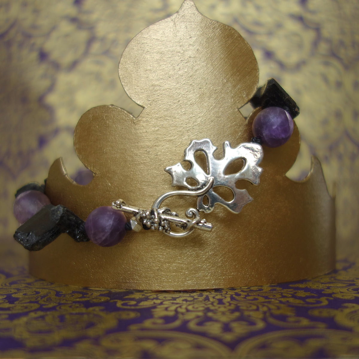 Amethyst and Black Tourmaline bracelet