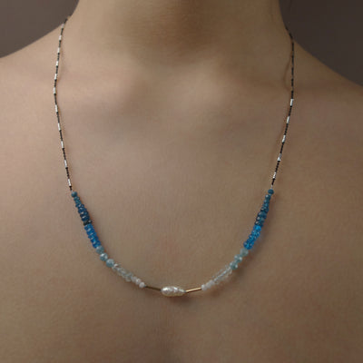 Sea of Love: pearl, gold, white sapphire, apatite necklace