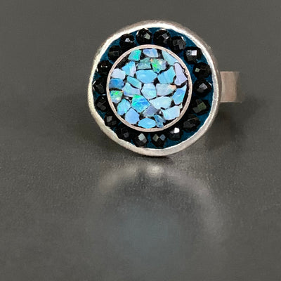 I'm Romancing the Stone (opal and black sapphire mosaic ring)