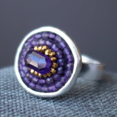Amethyst and Gold Mosaic ring