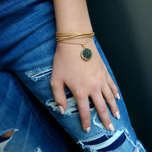 Pyrite Iconic Mosaic Wrap Bracelet and/or Necklace