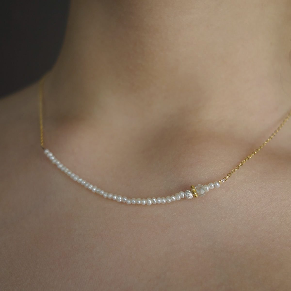 Micro Pearl BAR necklace on gold