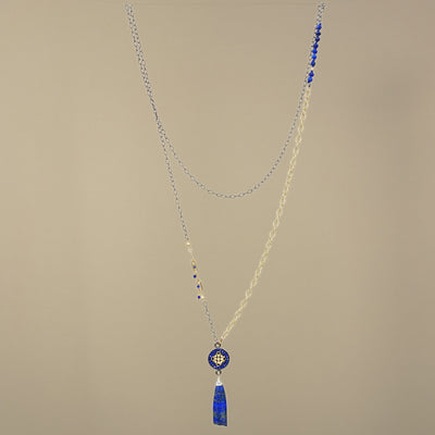 Nights in Byzantium: gold, diamonds, and lapis necklace