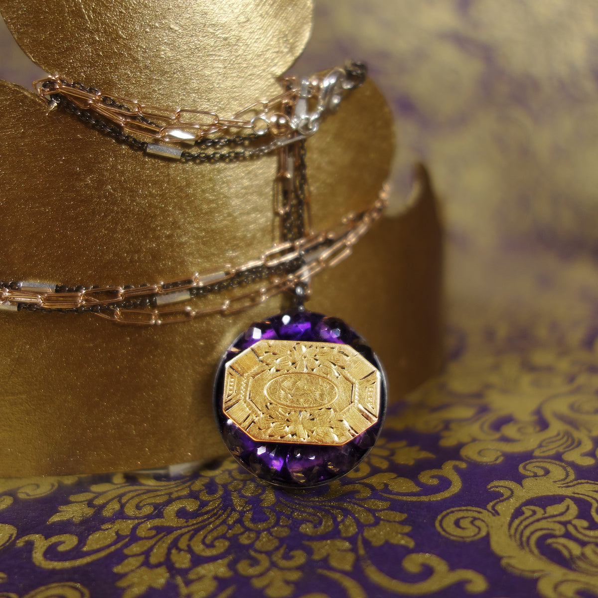 Stop in the Name of Love vintage gold and amethyst necklace