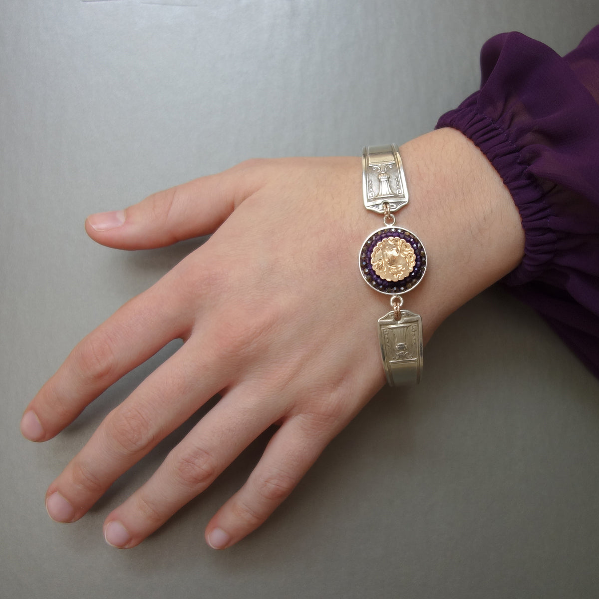 Bangle Me Beautiful vintage gold, silver spoons, amethyst, and sapphire mosaic