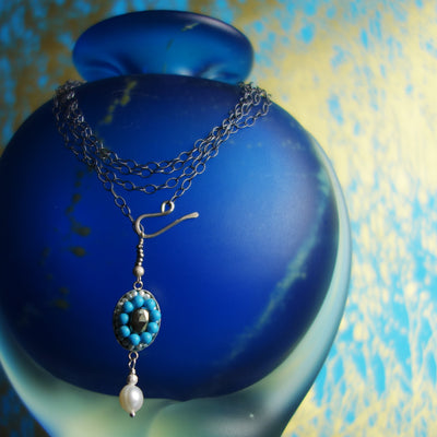 Unceasing Waves: mosaic necklace of turquoise, pyrite, and pearl
