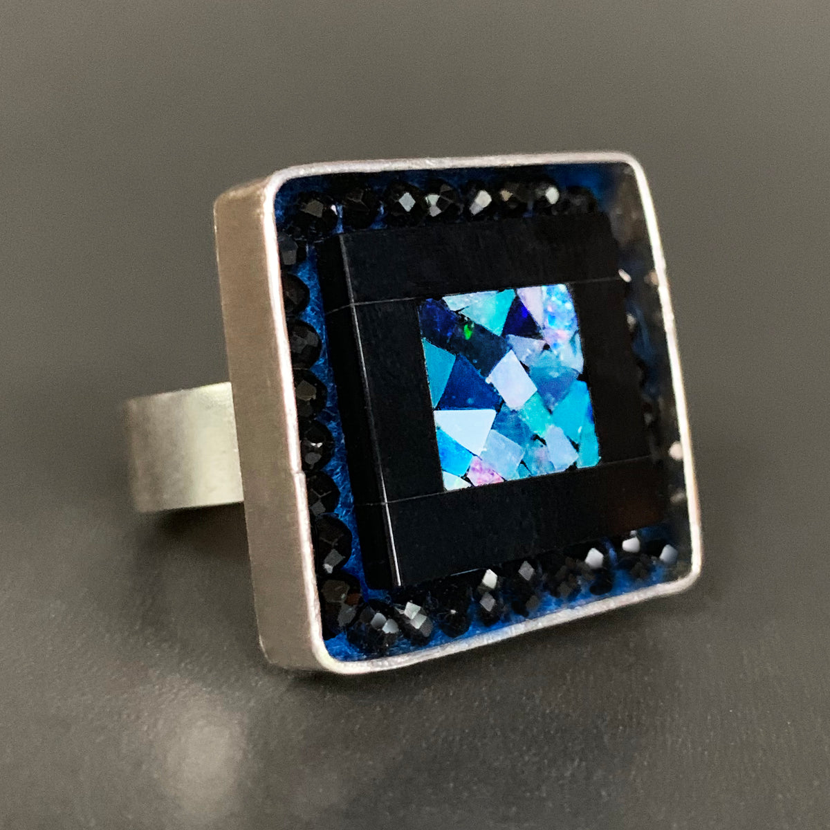 Starry Starry Night (opal, onyx, and black sapphire mosaic ring)