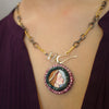 Martha, My Dear: hand painted pearls, pink sapphire necklace