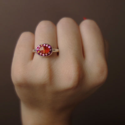 She Said Yes: pink opal + hessonite garnet mosaic ring
