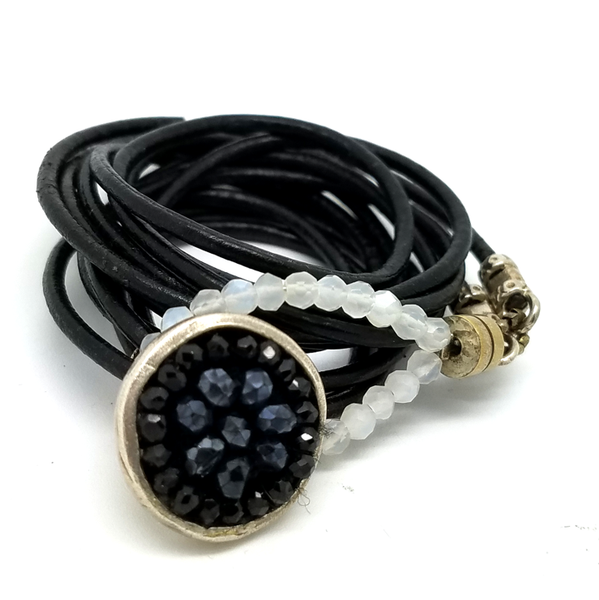 Iconic Black Sapphire and Black Onyx Wrap Bracelet, 17mm Mosaic