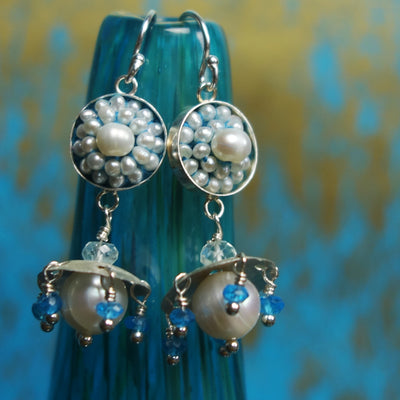 Ares's Gift: pearl, apatite, and aquamarine ear