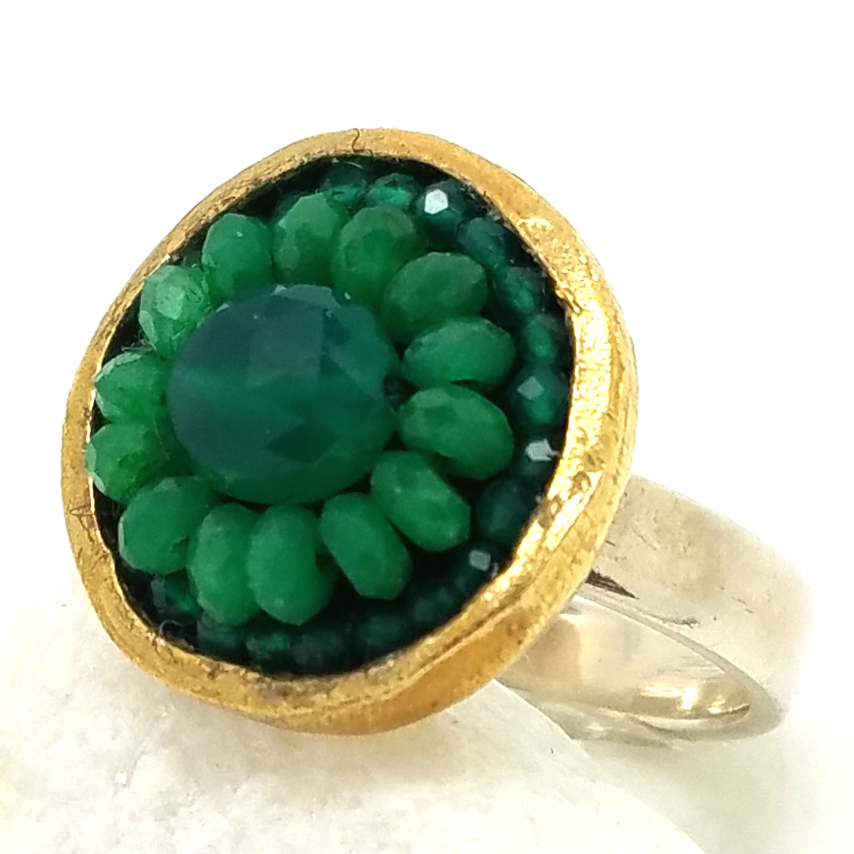 Iconic Green Onyx and Emerald Mosaic Ring, 17mm