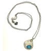 Iconic Turquoise Oval Mosaic on Hand Hammered Silver Pendant with Oxidized Silver Chain Necklace, 36""