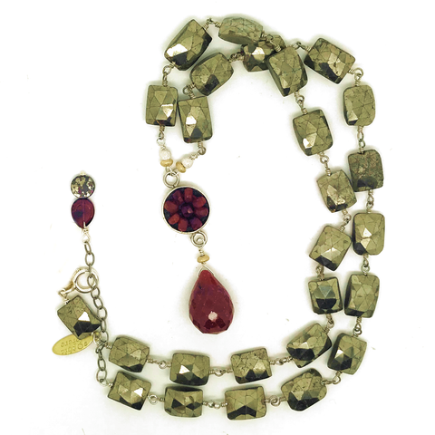 "12mm ruby mosaic necklace with faceted ruby round 14mm drop, emerald cut faceted pyrite 17"" gem chain with silver lobster clasp"