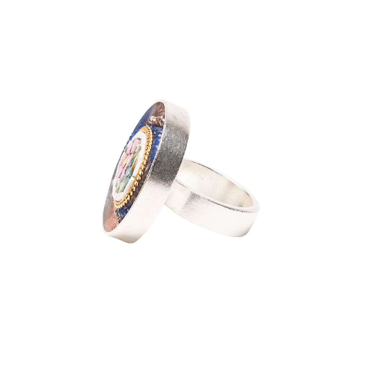 Wanderlust Micro Mosaic Ring with Pink Sapphire (Ravenna)