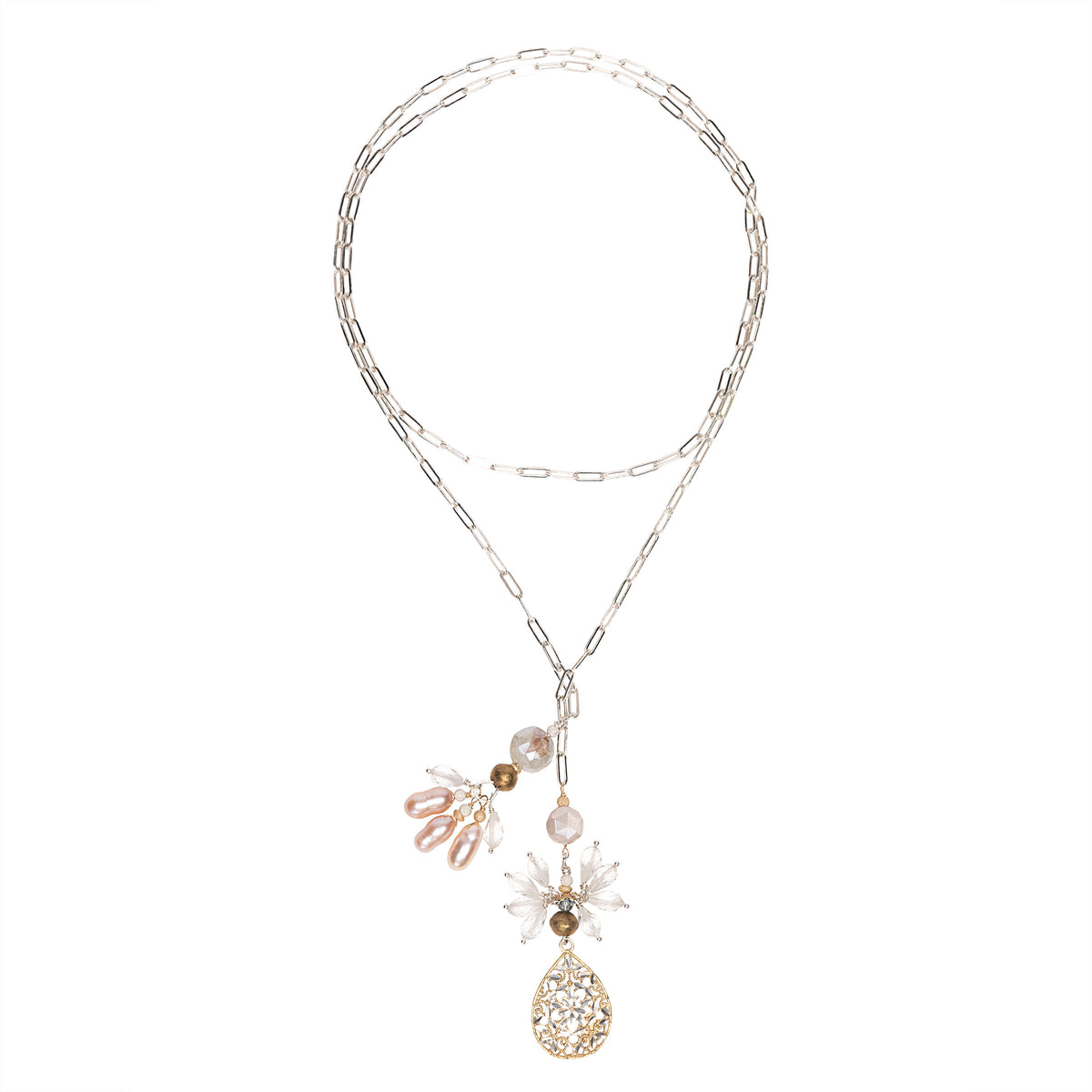 Silver, Gold, Clear Quartz and Pearl open Necklace