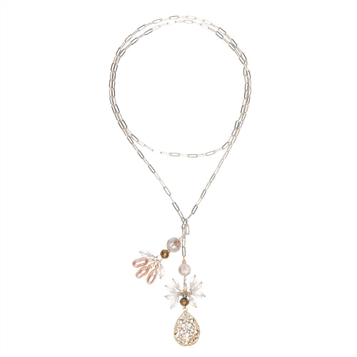 Wanderlust Silver and Gold Lace Open Necklace (Florence)
