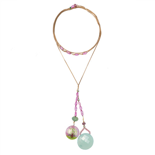 Wanderlust Italian glass and Chalcedony open necklace on gold chain (Murano)