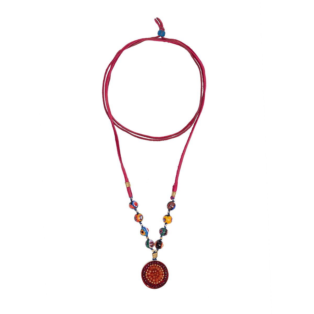 Wanderlust Murano Millefiori glass on leather with garnet and carnelian mosaic pendant (Murano)