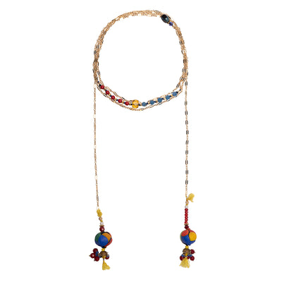 Wanderlust Murano glass and gold chain open necklace (Murano)
