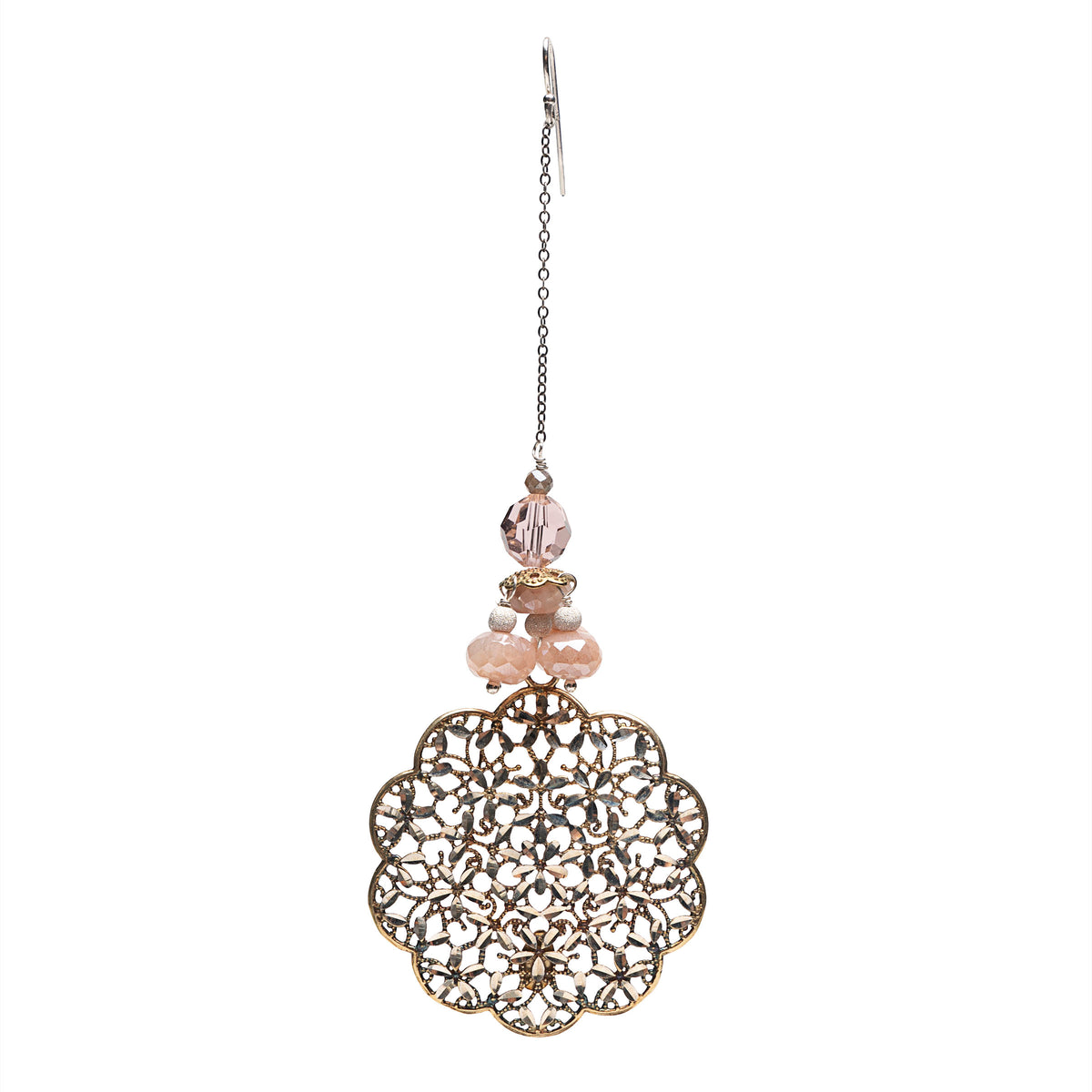 Wanderlust Silver and Gold Lace Chandelier Earring (Florence)