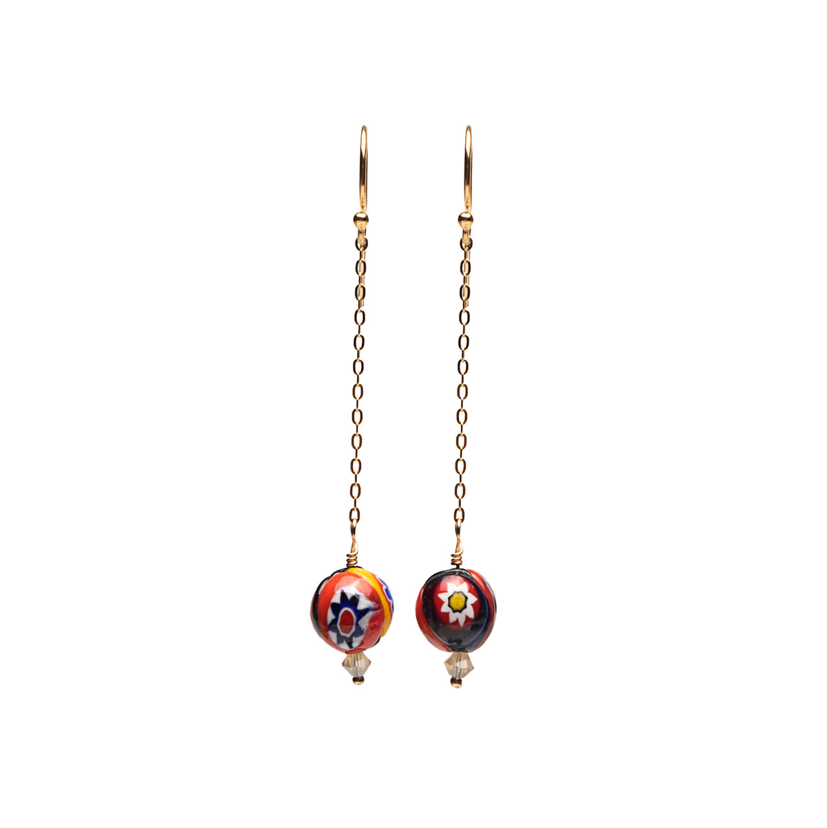 Wanderlust Murano glass dangle earrings on gold chain (Murano)