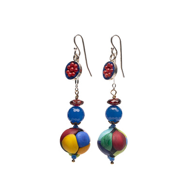 Wanderlust Murano glass earring with coral and lapis mosaic (Murano)